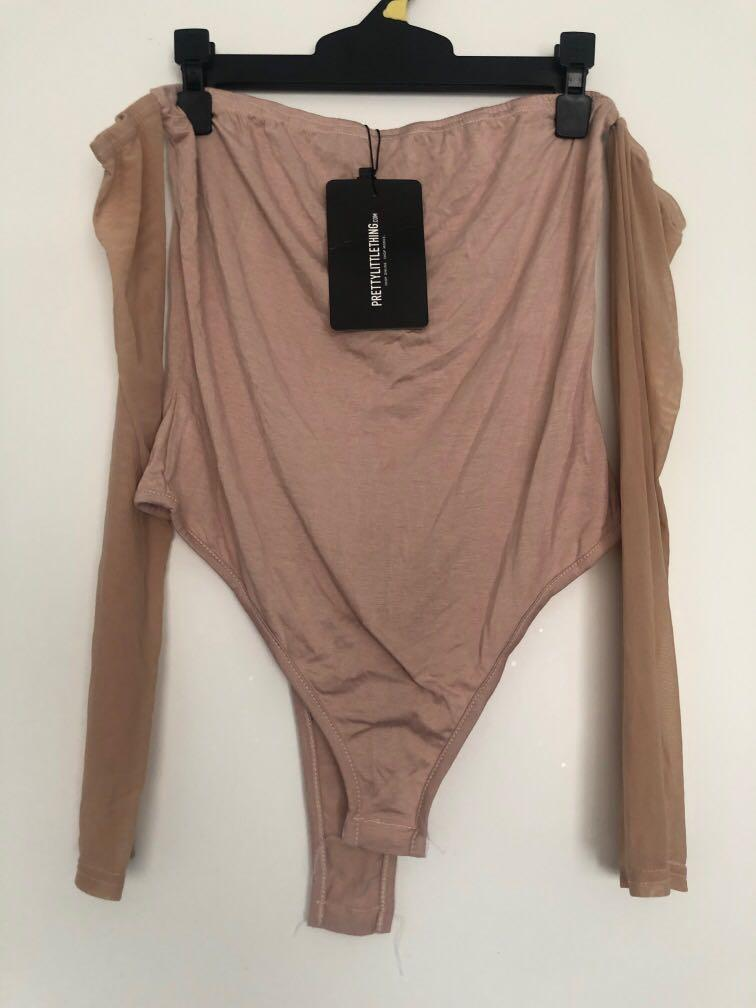 Mesh sleeve bodysuit