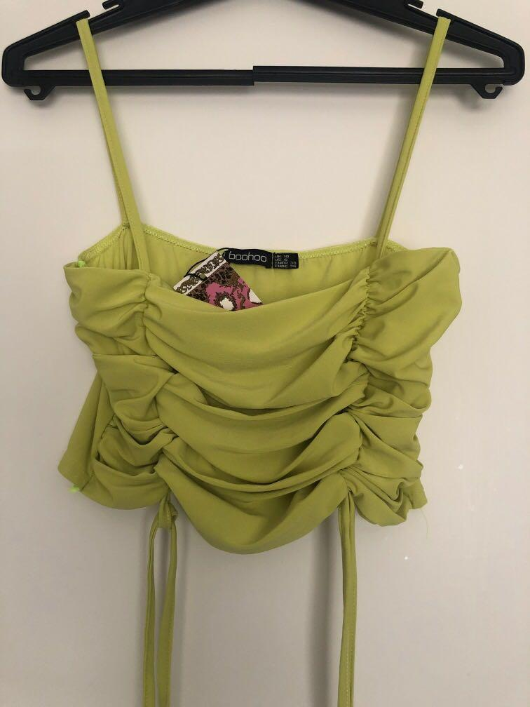 Ruched square neck lime