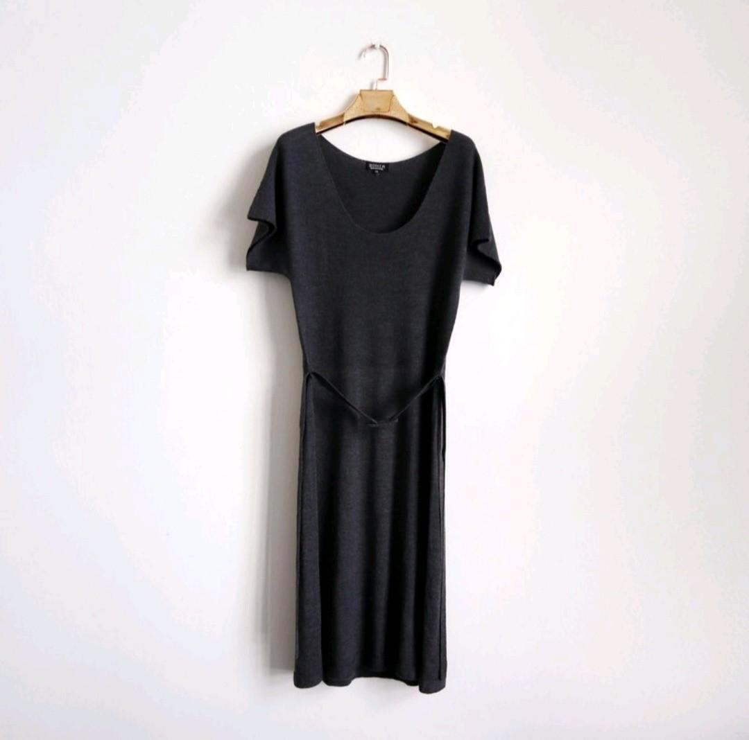 Sonia Rykiel 灰色圓領薄毛料高級洋裝