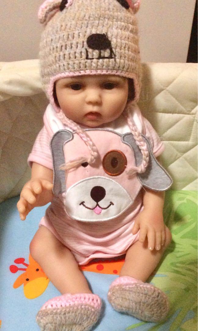 TERABITHIA 18inches 48cm Real Life Pink Puppy Premie Baby Size Newborn Cuddy Babydoll.