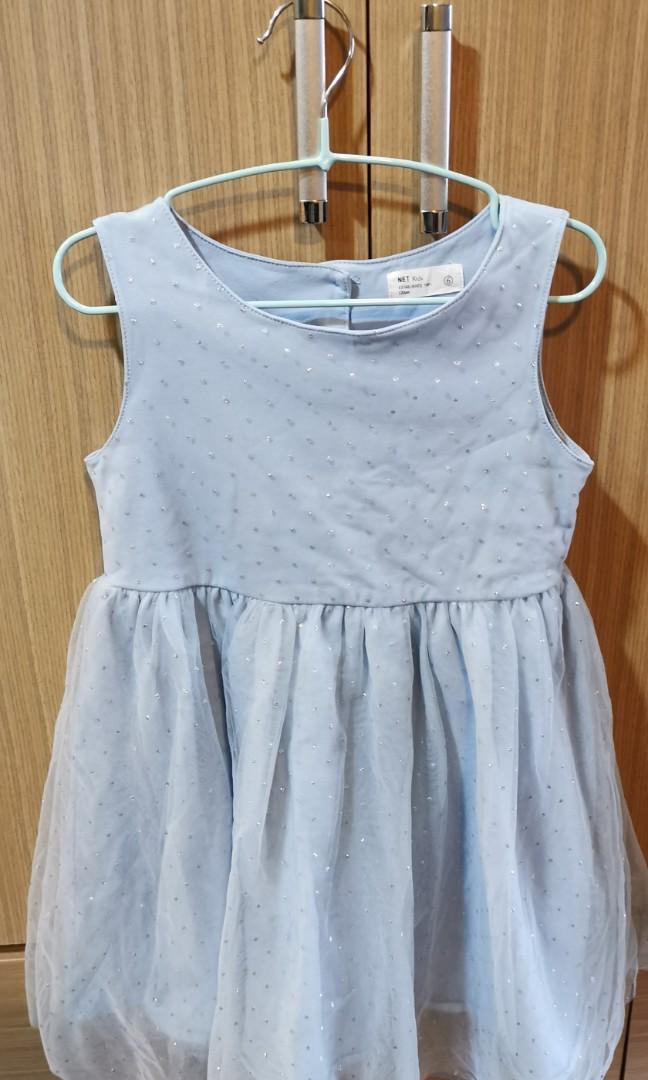 無袖水藍色甜美網紗蕾絲質感洋裝