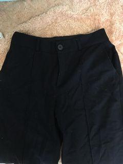 黑色鈕扣鬆緊帶微正式寬褲棉褲