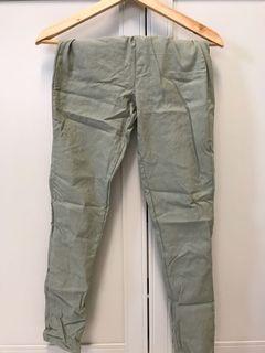 淺綠鬆緊褲頭長褲休閒褲