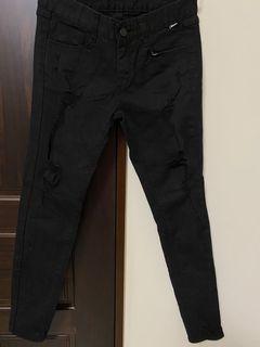 二手黑色刷破微貼身褲