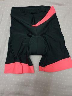 迪卡儂自行車女用車褲 短褲 螢光粉紅搭配黑 撞色 單車