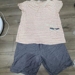 華歌爾 一套睡衣 粉色條紋