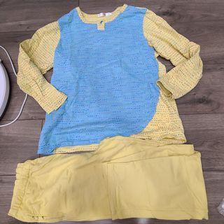 華歌爾 一套睡衣 內刷毛 黃色藍色