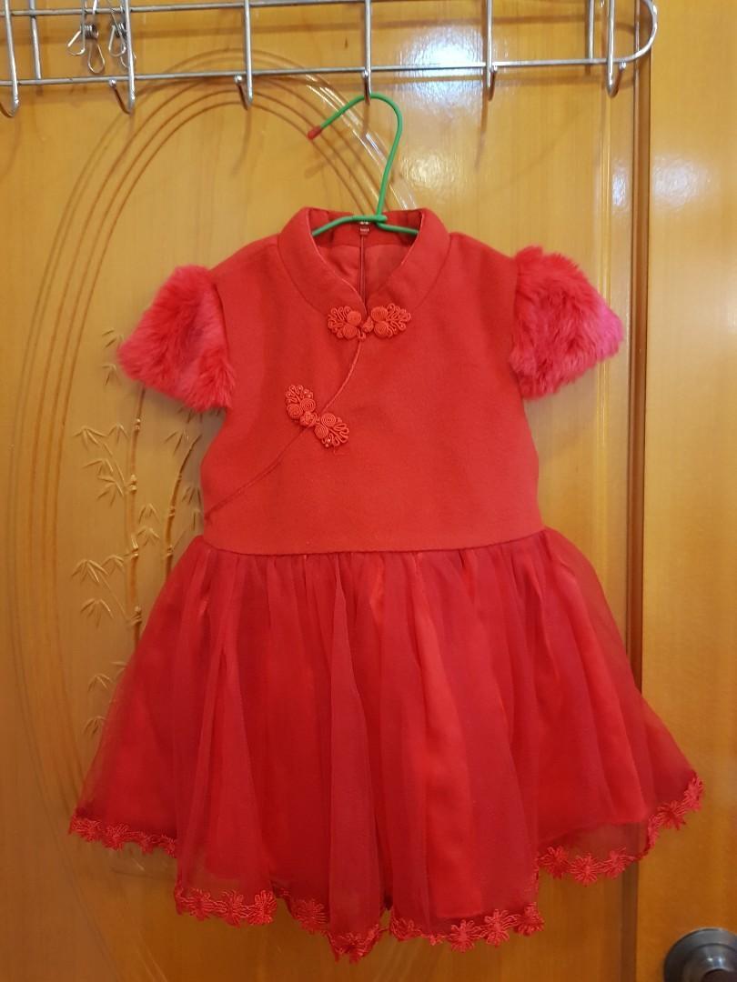 搬家出清 大紅過年喜氣洋洋 旗袍蓬蓬裙 後拉鍊蝴蝶結綁帶 穿2次 適合3歲內穿著 原價700元