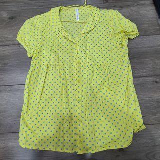 a la sha 黃色點點襯衫