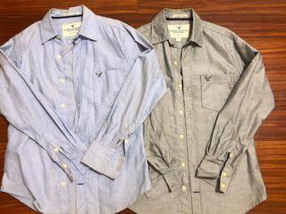 二手兩件一起賣AE美國老鷹襯衫S稍微偏大