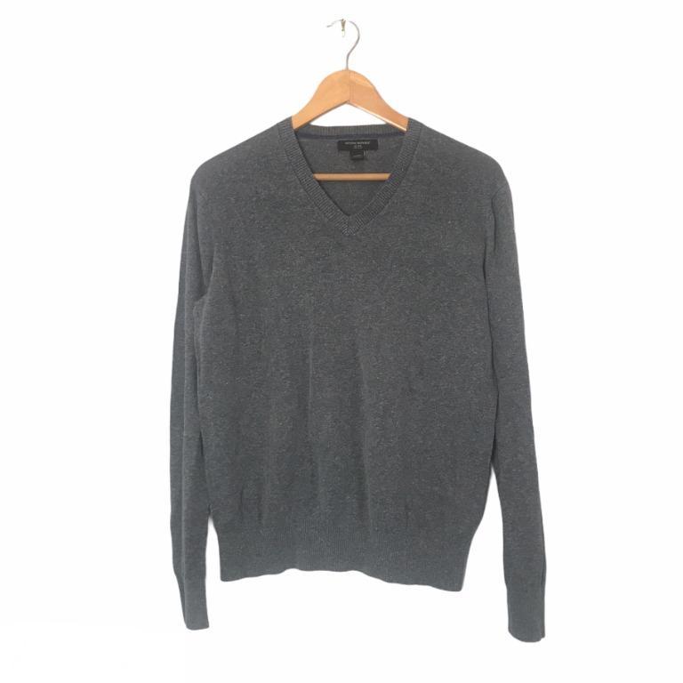 Banana Republic Men's Grey Silk Linen V-Neck Sweater Size M