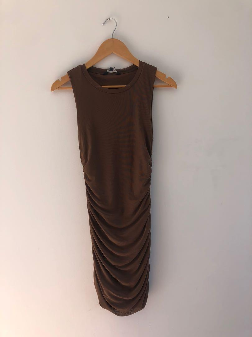 Brown ruched dress