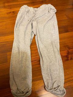 H&M反折棉長褲(淺灰s)