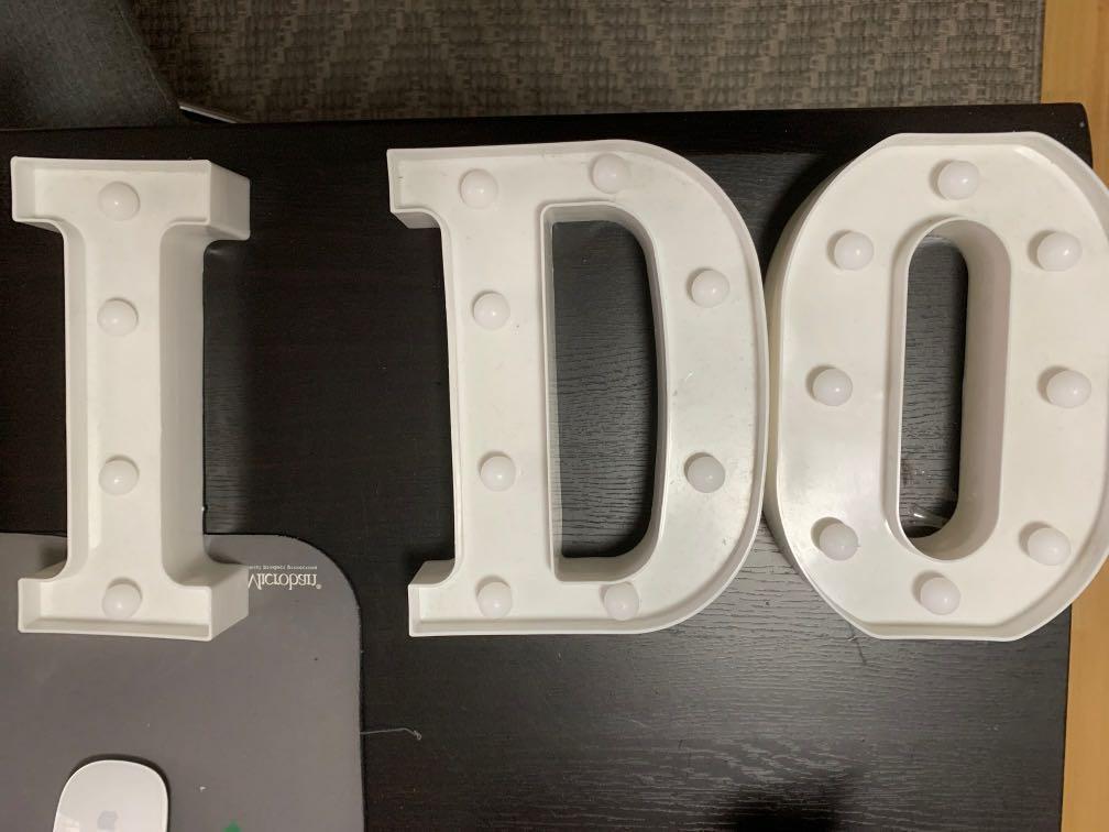 """I DO"" Light Up Letters"
