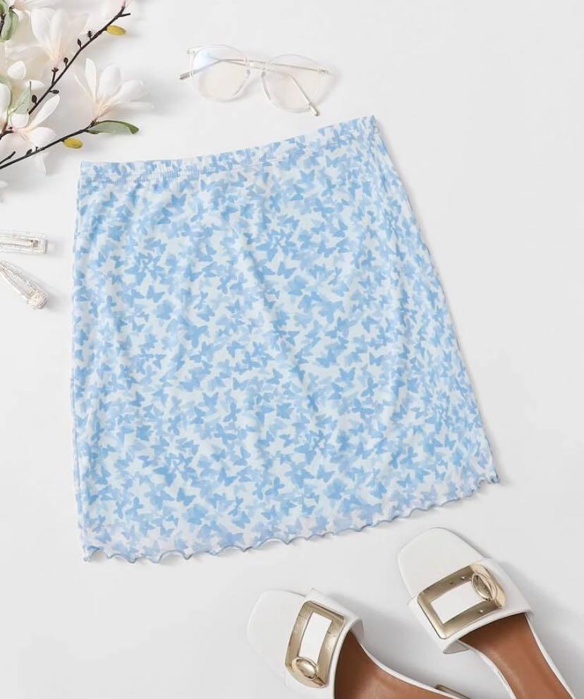 NEW Lettuce Hem Butterfly Mesh Skirt