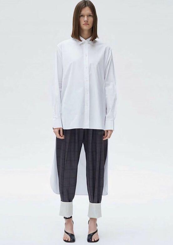 Celine 絲質前短後長襯衫