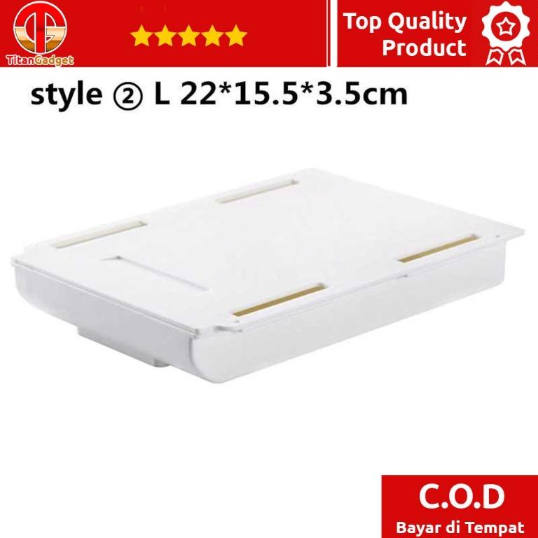 Staca Laci Meja Hidden Storage Box Case Desk Sticky Adhesive - STA05 Titangadget