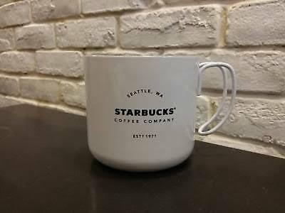 Starbucks Double Wall Steinless Steel Handle Mug 12 Oz White