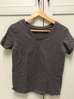 深灰休閒短袖上衣踢恤T-shirt