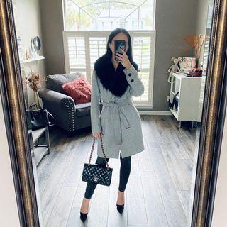Wool coat with real fox collar S 36-38 gray