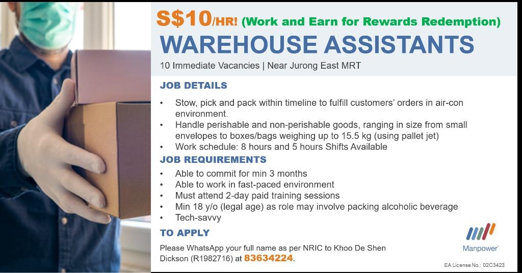 $10/hour Pick & Pack Assistant/Jurong east/ weekly pay