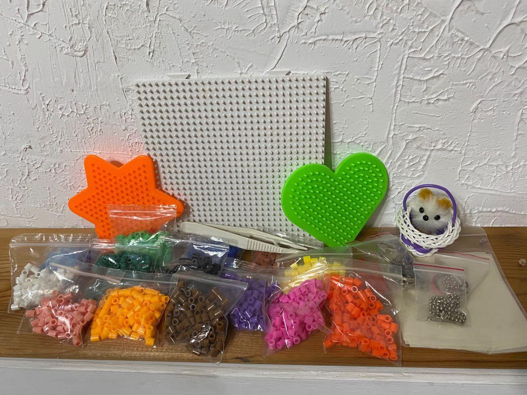 熱壓珠珠組合包(含三種形狀地盤/烤盤紙/15色珠珠/吊環)