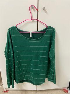 綠色條紋長袖