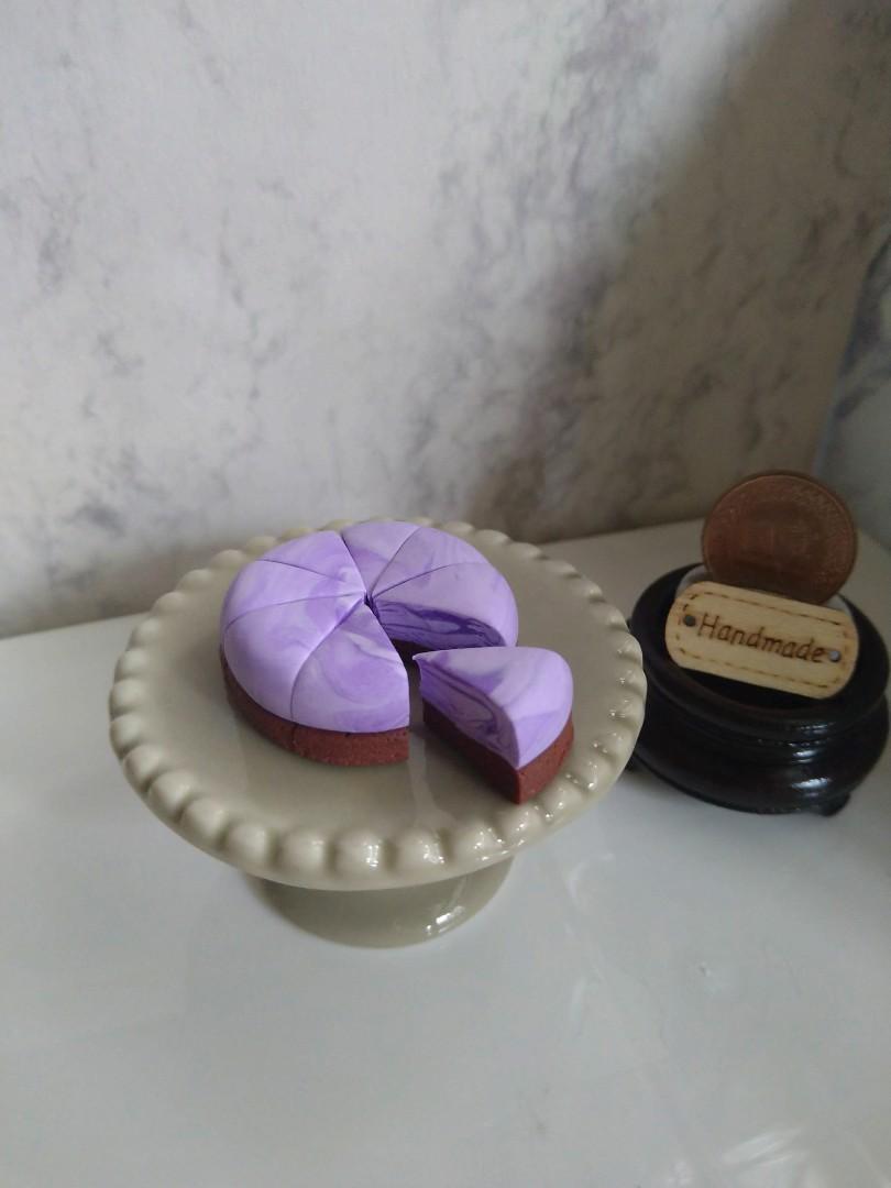 袖珍版 迷你千層紫芋蛋糕 八切片 可作擺設非食玩 不含底座