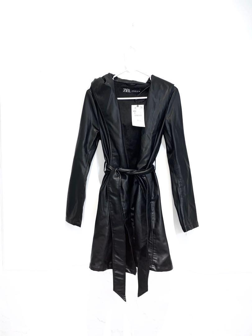 brand new zara leather coat