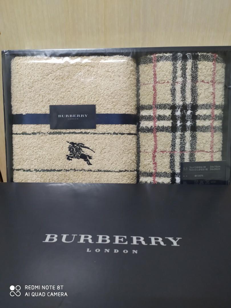【BURBERRY 巴寶莉】經典戰馬  格紋毛巾二組件(卡其色)-原廠正品