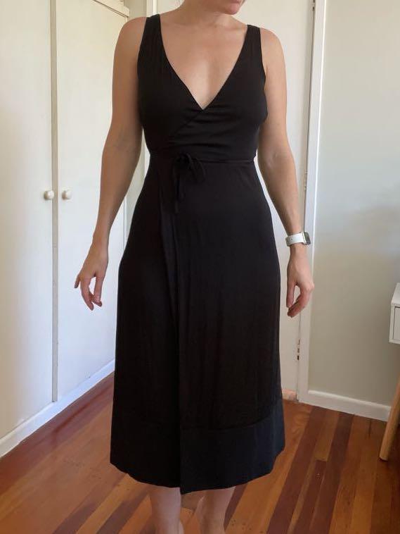 Glassons Black Wrap Dress, Size 6