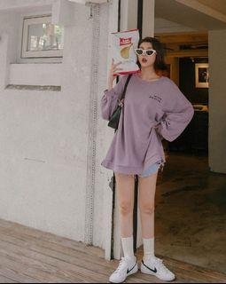 mercci22 boyfriend寬鬆印字大學tee(紫)