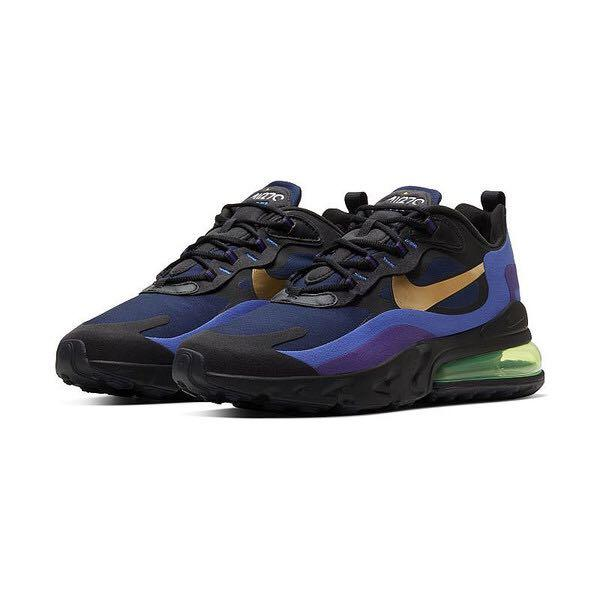 Nike Air Max 270 React 黑藍金勾 男女 慢跑鞋 運動鞋 AO4971-005