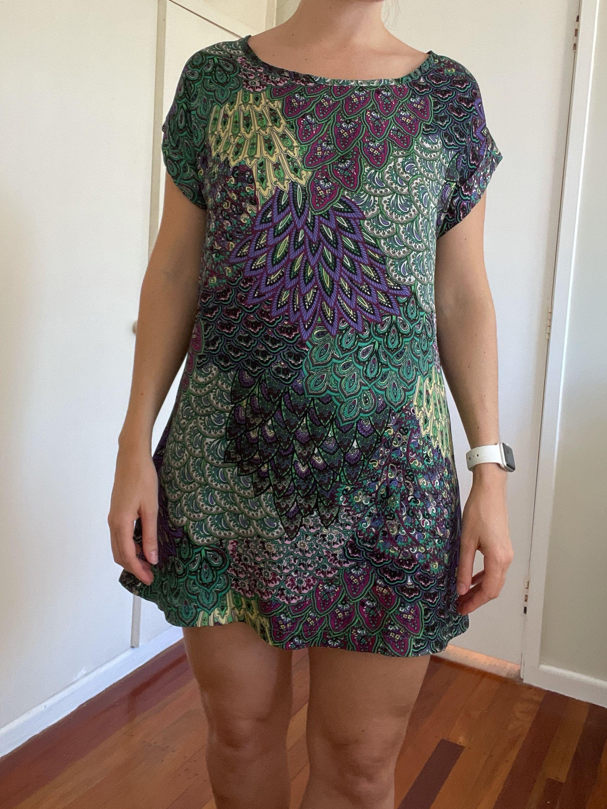 Patterned Satin Dress, Size 8-10