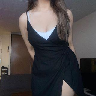 Princess Polly Wrap-around Black Dress (size S-M)