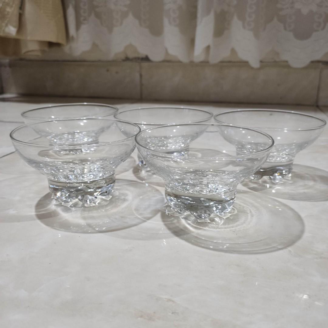 Set 5 Crystal Gelas Ceper Eropa Italy Lebar 11cm / Kristal Antik Mewah