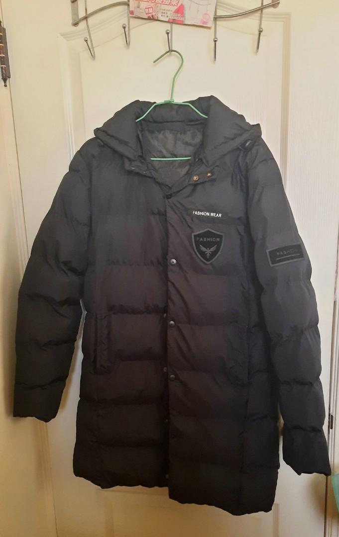 黑色鋪棉長外套