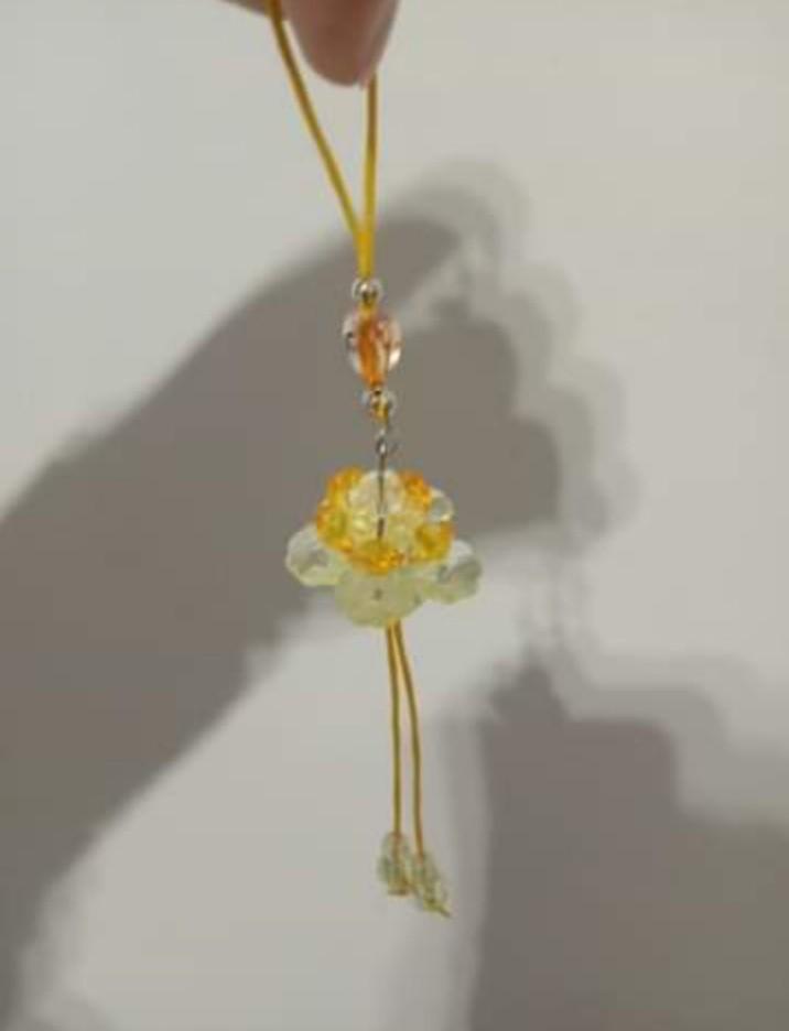 仿真黃水晶蓮花造型串珠吊飾