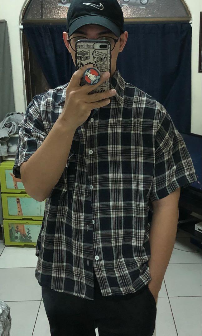 全新🇰🇷韓國寬版格子短襯衫