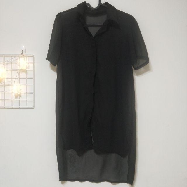 雪紡 前短後長 黑襯衫