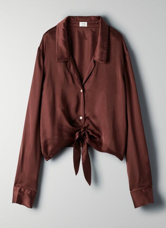 Aritzia tie-front blouse in XXS