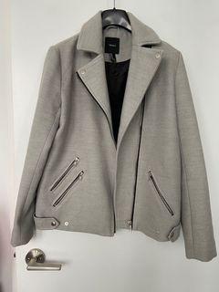 F21 Grey Moto Coat