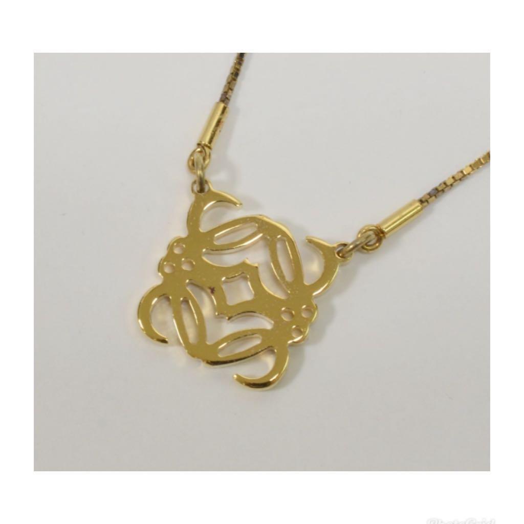 正品Loewe 鍍金項鍊