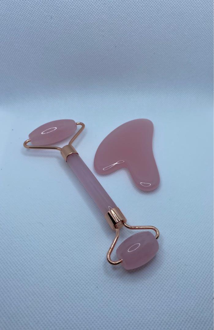 Pink Jade roller and Gua Sha stone