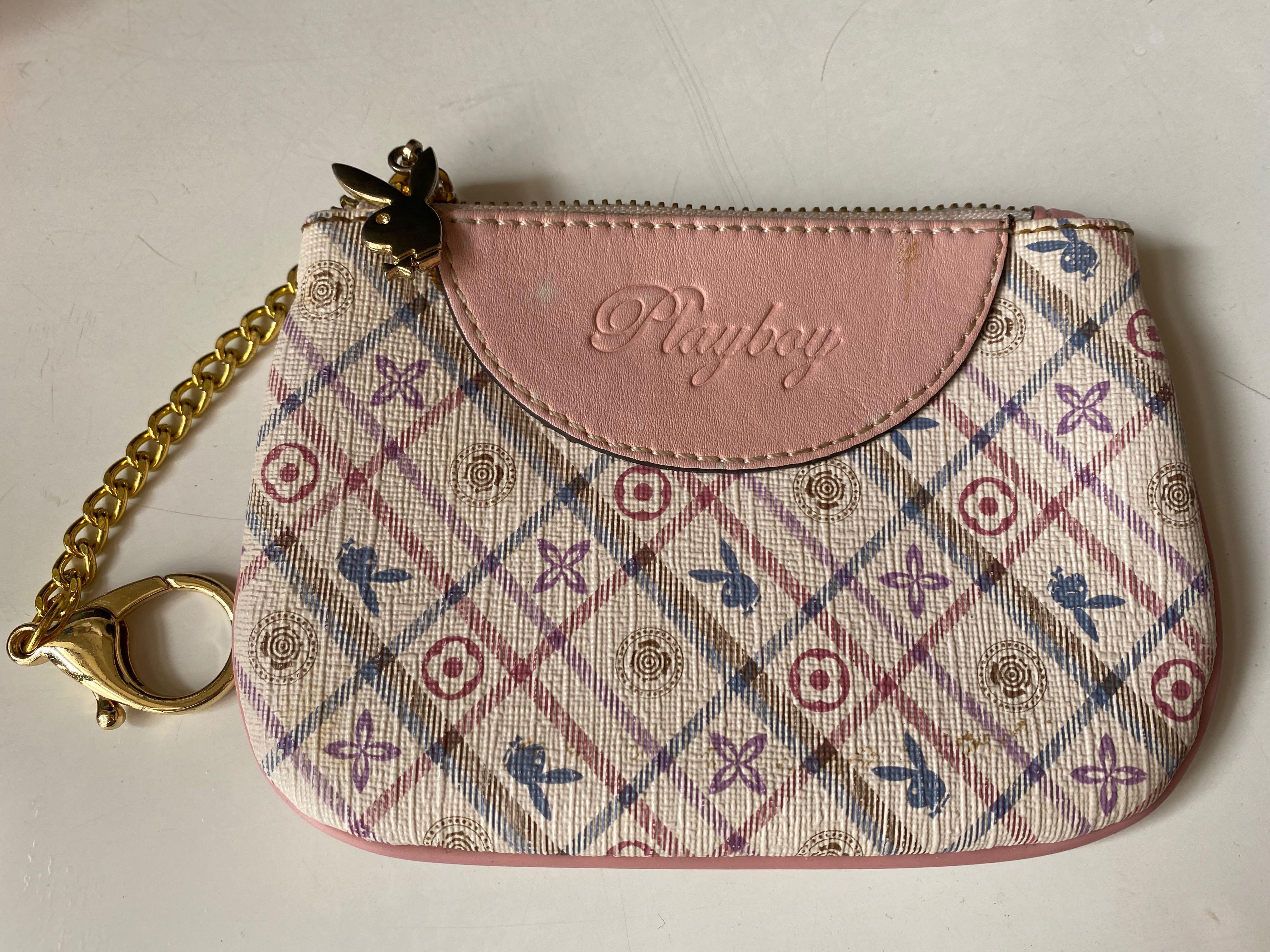 Playboy 粉色皮革零錢卡包