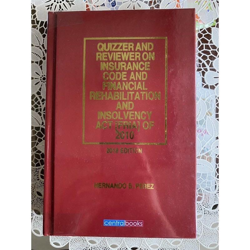 Quizzer and Reviewer on Insurance and FRIA by Perez (2018 ed.) (HB)
