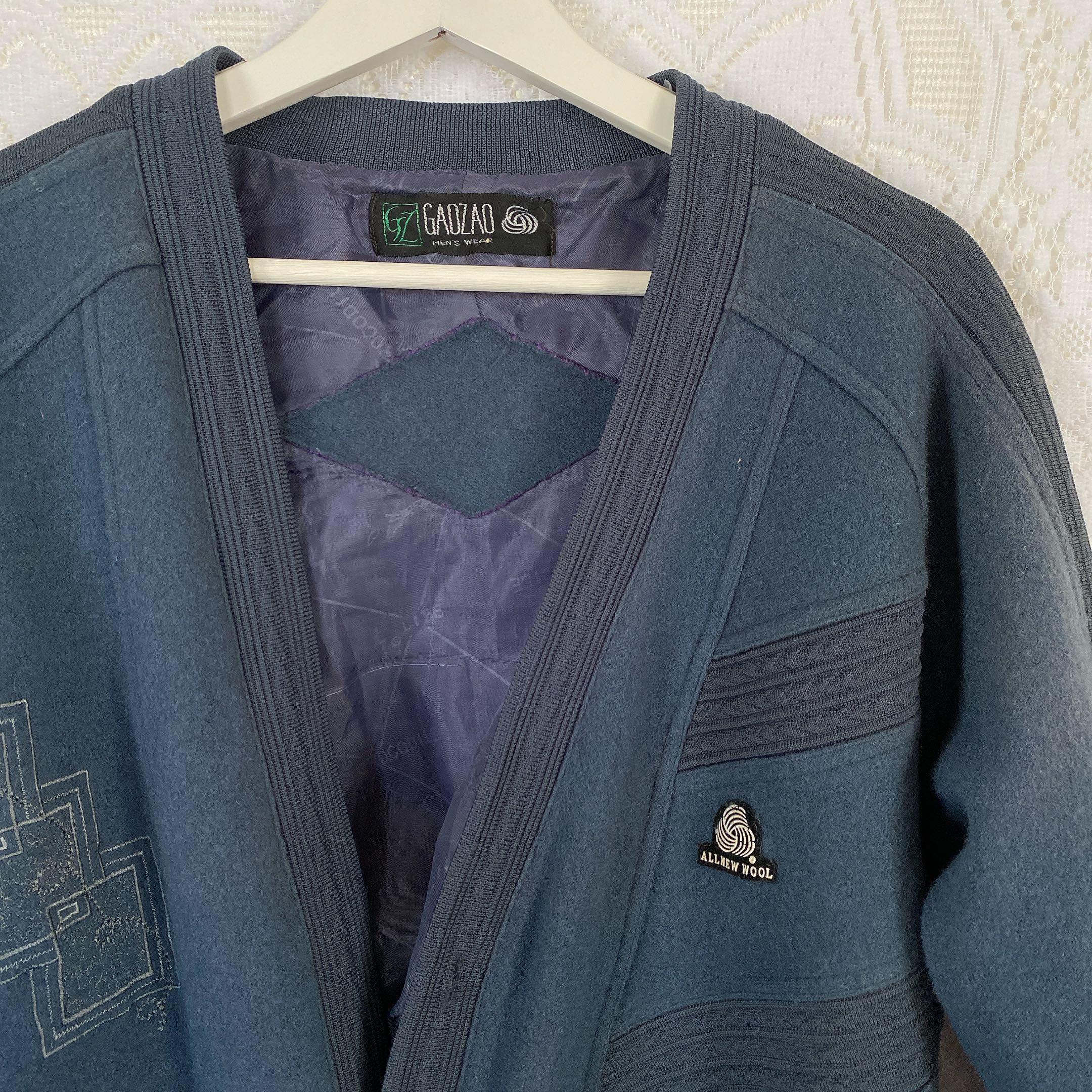Vintage藏青色羊毛外套