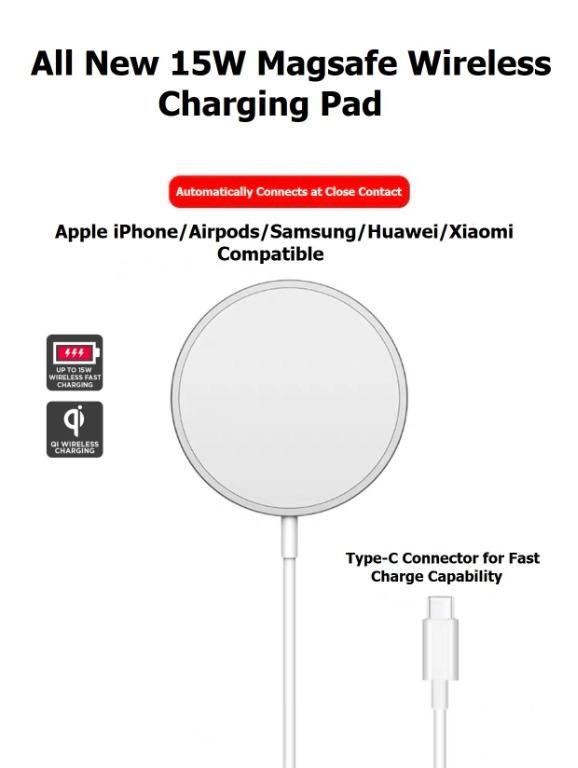15W Magnetic Wireless Fast Charger Pad in Retail Box (MagSafe Compatible)