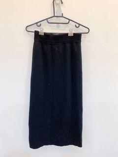 細針織後開衩長裙