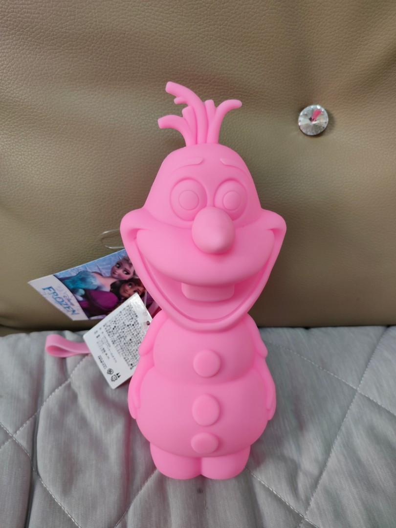 全新.正版.雪寶造型粉色矽膠筆袋.收納包